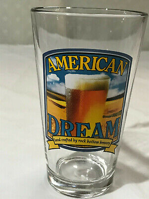 "1 Rock Bottom Brewery Hand Crafted ""American Dream"" Shaker Pint Clear Beer Glass"