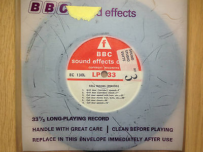 """BBC Sound Effects 7"""" Record - Cell Doors (Period & Modern), Prison, Jail, Grill"""