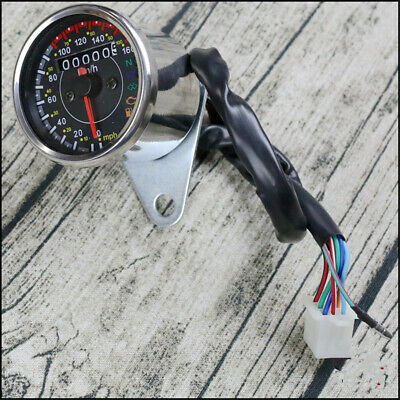 Silver Motorcycle Speedometer Odometer Gauge KM/H MPH With Fuel Level Indicator