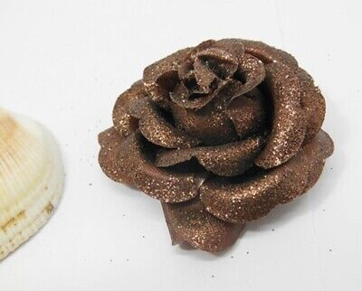 300 Glittered Coffee Artificial Rose Flower Head Buds