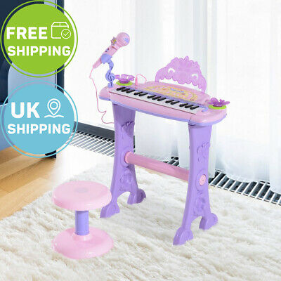 HOMCOM Mini Electronic Kid Piano W/Microphone and Stool 37keys Purple Pink
