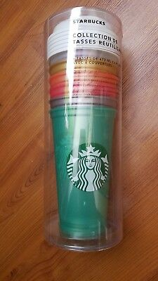 2018 NEW Lot of 6 Starbucks Reusable 16oz Cup Collection W/ Lids Shimmery Pearl