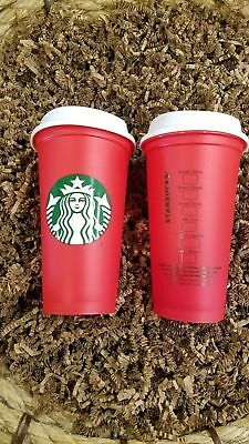 New Lot of  2 / 4 / 6 /8 Starbucks Red 2018 Reusable 16 oz Holiday Cup White Lid