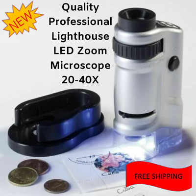Professional Zoom Microscope w/LED Light 20X-40X Coins Stamps Currency Collector