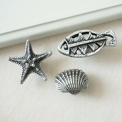 SC4748 15 Shell Starfish Connector Charms Antique Silver Tone