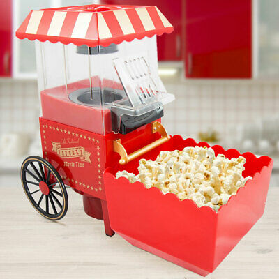 Popcorn Maschine Maker Old Fashioned Retro 1200W  Heißluft fettfrei gold rot