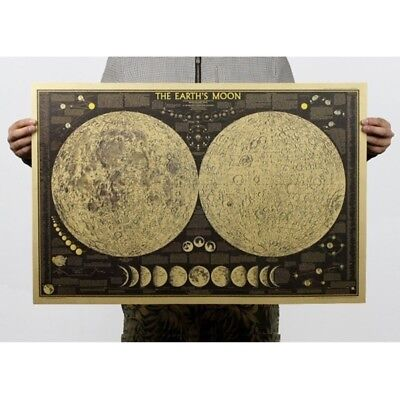 Large Vintage Retro Paper Earth's Moon World MapPoster Wall Chart Home Decor