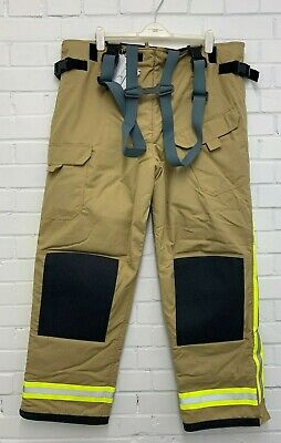 ROYAL NAVY YELLOW FLAME PRO FIREFIGHTER TROUSERS SALOPETTES - Waist: 105-111cm