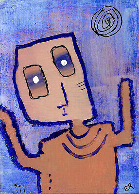 to his surprise his left hand saw differently than his right e9Art ACEO Painting
