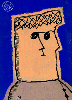 lonely days and lonely nights e9Art ACEO Outsider Art Painting Brut Folk Naive
