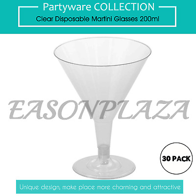 30 x Plastic Martini Glasses Disposable Drink Cups 200ml Wedding Party Birthday