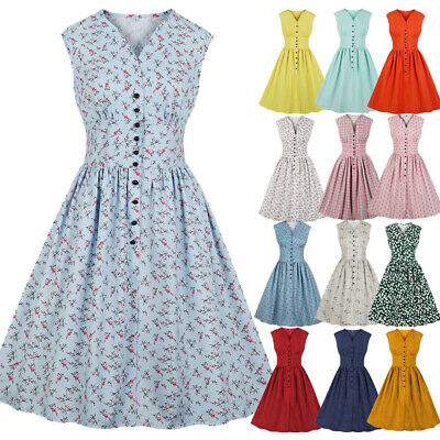 DRESS PLUS SIZE Womens 1940s Style Vintage Rockabilly ...