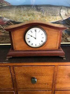 An Antique Mahogany Marquetry Inlaid Mantel Clock Working Well Probably French