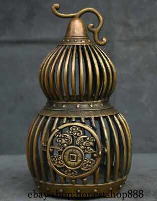 "9"" Rare Marked Collect Old Chinese China Bronze Gourd Birdcage Bird Cage"