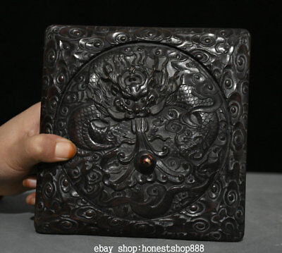 "6"" Rare Chinese Royal Palace Black Wood Hand-Carved Dragon inkstone inkslab Box"