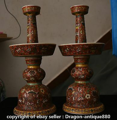"""16"""" Qianlong Marked China Famille Rose Porcelain Candle Holder Candlestick Pair"""