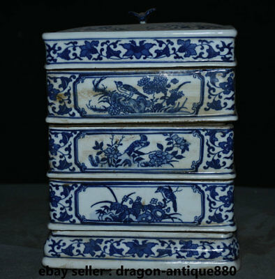 """8.8"""" Qianlong Marked Old Chinese Qing Blue White Porcelain Flower Birds Food Box"""