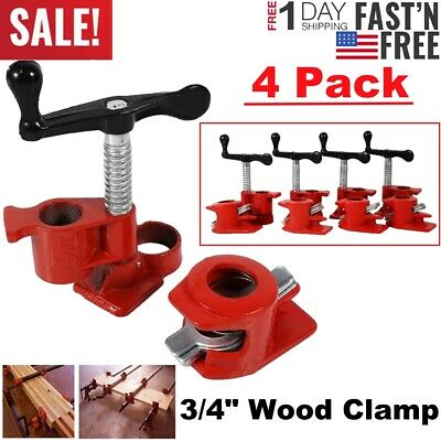 """4 Pack 3/4"""" Wood Gluing Pipe Clamp Set Heavy Duty PRO Woodworking Cast Iron US"""