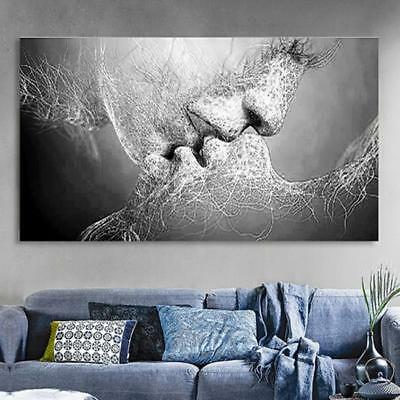 Black & White Love Kiss Abstract Art on Canvas Painting Wall Art Picture Print J
