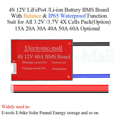 4S 12V 3.7V Li-ion LiPo 3.2V LiFePo4 LFP Lithium Battery BMS Board IP65 WBalance