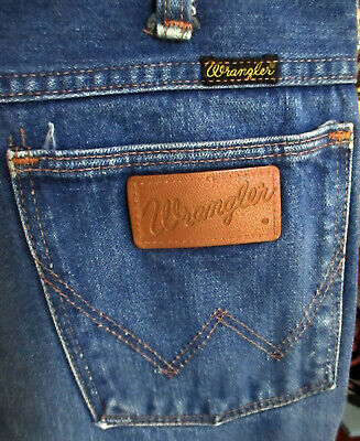 30x30 Vtg 70's WRANGLER RAW DENIM HIPPY RANCHER FLARE BOOTCUT FARM JEANS USA