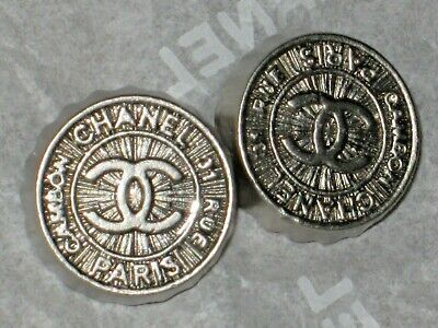 Chanel 2 Silver  Metal Cc Logo Front   Button 12 Mm / Around 1/2 '' New Lot 2