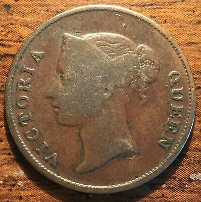 1862 Straits Settlements One Cent Queen Victoria Colonial Coin