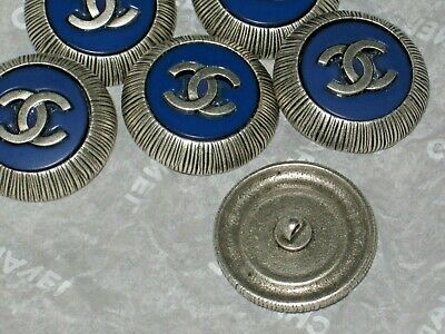 Chanel 6 Silver  Metal Cc Logo Blue Resin  Button  22 Mm / Around 1'' Lot 6 New