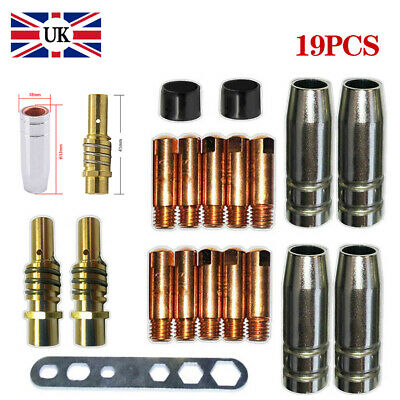 19Sets of MB 15AK MIG/MAG Welding Contact Tips M6 Gas Nozzle Holder Shroud NEW