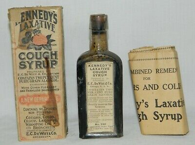 Kennedy's Cough Syrup Antique Vtg Medicine Bottle/Label/Cork/Box/Inst Apothecary