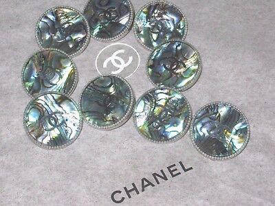 CHANEL 5 SILVER METAL CC LOGO PEARLS COLOR BUTTON 14 MM / over 1/2'' NEW LOT 5