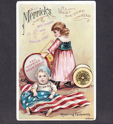 Merricks Sewing Thread 1892 SCARCE American Patriotic Flag Drum Corps Trade Card