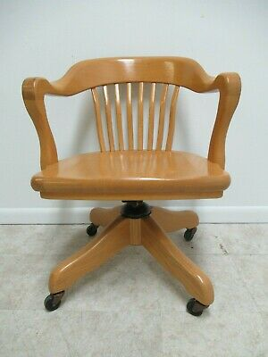Vintage H. Krug Solid Oak Swivel Office Chair 1920s Style Banker Chairs  A