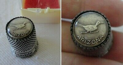 Vintage Arizona Roadrunner Thimble Pewter Metal Road Runner Keepsake Thimble BOX