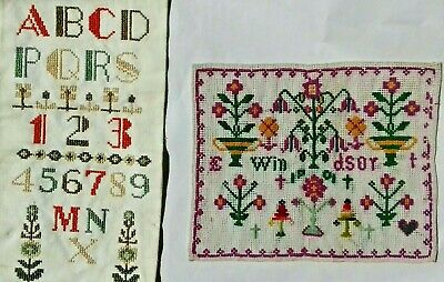 2 Antique Embroidery Needlework Samplers
