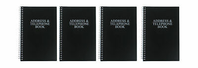 """Set Of 4 Personal  Black Telephone Address Book Spiral Bound Vinyl Cover 8"""" x 5"""""""