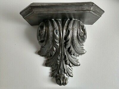 Ornate Distressed Silver Gray Sconce Wall Shelf Shabby Chic faux Wood Victorian