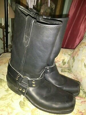 HH DOUBLE H 4008 Black LEATHER Harness Motorcycle Square Toe Boots MENS 10 D VG