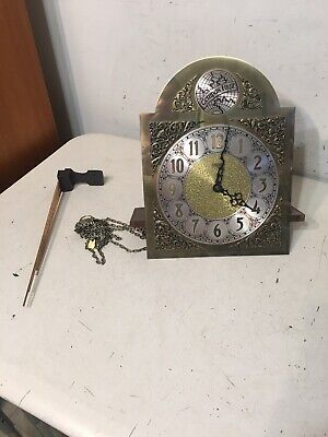 Vintage Hermle Emperor Wall Grandfather Clock Movement Dial Hands Chime Rod