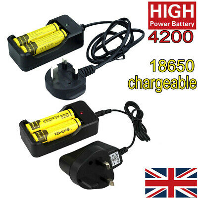 4200mAh 18650 3.7v Li-ion Chargeable Battery Batteries and UK Charger For torch