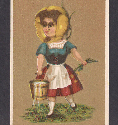 Charlotte Perkins Gilman c 1881 Yellow Poppy Milkmaid 3 Ages of Woman Trade Card
