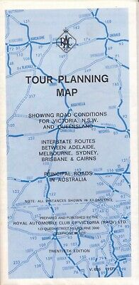 Tour Planning Map Showing road conditions for Victoria NSW Queensland 1977