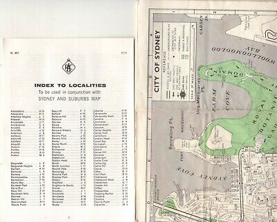 City of Sydney / Sydney District Road Map 1971 New South Wales