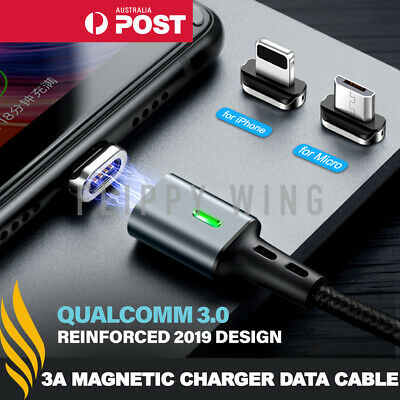 Magnetic 3.0A Lightning/Type C/Micro Fast Charging Charger Cable iPhone Samsung