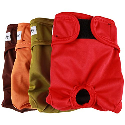 vecomfy Washable Dog Diapers Female for Small Dogs4 Pack,Premium Reusable Puppy