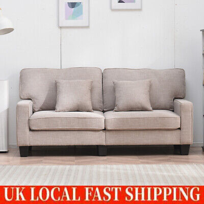 Modern Fabric Sofas Couch Settee with Armrest Wood Frame Sofa of 2 Seater Sofa