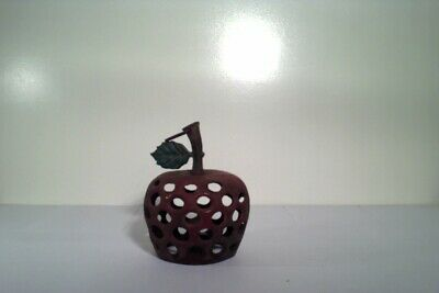 Vintage Antique Cast Iron Apple hanger, candle holder? home decor folk art RARE
