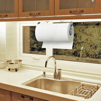 Paper Towel Holder Under Cabinet Vertical&Wall Mount Stainless Steel Rack Kitch