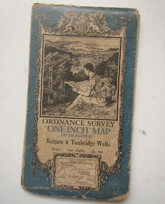 Old Ordnance Survey Cloth Map of Reigate & Tunbridge Wells 1936