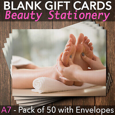 Gift Voucher Card Beauty Reflexology Massage Therapy - x50 + Envelopes